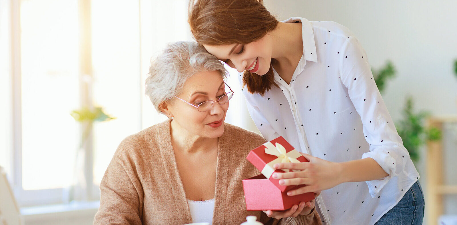 An adult caregiver spending quality time with her mother
